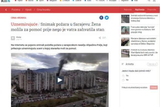 Snimak požara u Sarajevu: Sve za klikove