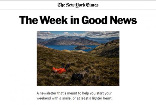 Sedmični newsletter New York Times-a šalje samo pozitivne vijesti