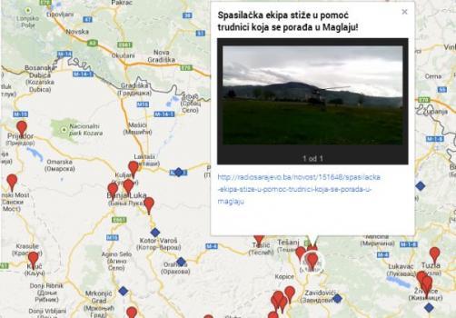 Stanje poplavljenih područja u mapi Radiosarajeva